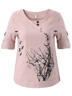 Floral Printed Long Sleeve O Neck T-shirt For Women