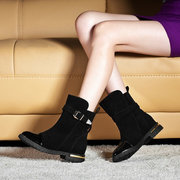 Buckle Pure Color Ankle Autumn Flat British Style Boots