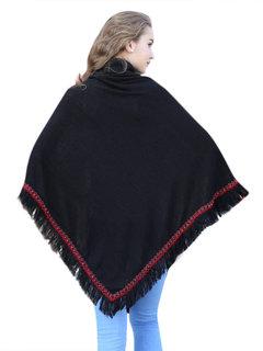 Женщины Цветочные Печатный кисточкой Лоскутная Turtleneck пуловер Шаль плаща