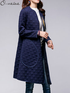 O-NEWE Plus Size Casual Elegant Women Pure Color Dots Long Sleeve Cardigan Coat