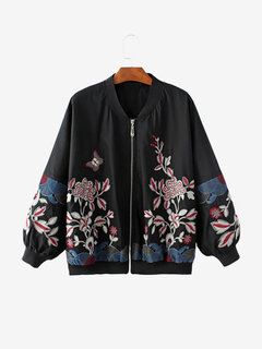 Women Casual Floral Embroidery Long Sleeve Jacket