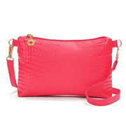 Ladies Stylish PU Leather Bright Crocodile Grain Zipper Wallet Phone Bags