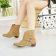 Scrub Short Chunky Heel Belt Buckle Ankle Shoes