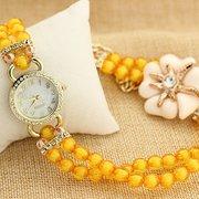 Simple Acrylic Flowers Rhinestone Watch