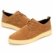 Men Suede Pure Color British Style Lace Up Casual Shoes
