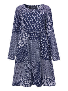 O-Newe Folk Style Floral Printed Color Block A-line Dress For Women