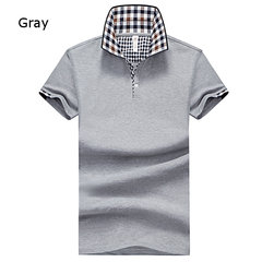 Mens Casual Solid Color Plaid Turndown Collar Short Sleeved Polo Shirts
