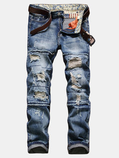 Vintage European American Style Ripped Jeans Slim Fit Straight Leg Jeans For Men