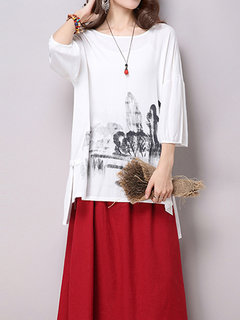 Women Ink Printing High Low Cotton Linen T-shirt