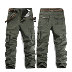 Large Size Military Multi-pocket Regular Fit Casual Cargo Pants for Men