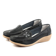 Flower Embroidery Leather Wedge Heel Casual Soft Comfortable Loafers