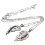 2Pcs Mother Daughter Crystal Heart Necklace