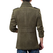 Fall Winter Mens Casual Jacket Turndown Collar Single Breasted Solid Color Trench Coat