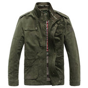Jeep Rich Plus Size Military Epaulet Warm Outdoor Stand Collar Casual Cotton Jacket For Men