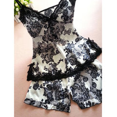 Plus Size Women Sexy Satin Nightwear Deep V Floral Shorts Sleepwear Sets