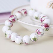 Ceramic Flower Painting Beads Bracelet