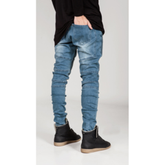 Mens Fashion Personality Elastic Wrinkle Wear Out Slim Fit Pencil Jeans