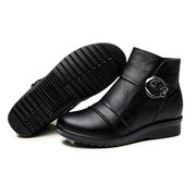 Leather Soft Buckle Fur Lining Warm Ankle Black Flat Boots
