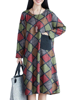 Casual Plaid O-Neck Long Sleeve Pocket Midi Dress For Women