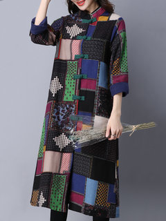 Fashion Ethnic Block Printing Patchwork Plate Button Cardigan For Women