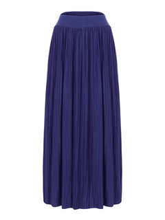 Women Casual Pleated Solid Color Skirt