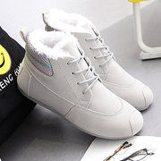 Rainbow Ankle Lace Up Cotton Fur Lining Warm Boots