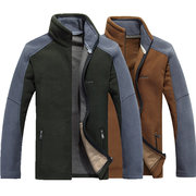 Mens Fall Winter Coat Thick Fleece Stand Collar Splice Warm Casual Jacket