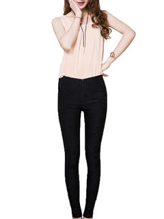 Solid Plus Size Casual Lace Crochet Stretch Legging For Women