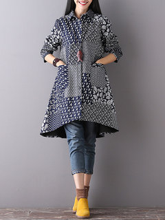 Loose Printed Long Sleeve Lapel Button Cotton Thicken High Low Coat