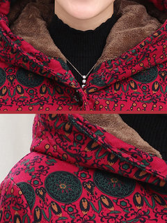 Winter Plus Size Women Warm Printing Hooded Single Breasted Velvet Thicken Coat