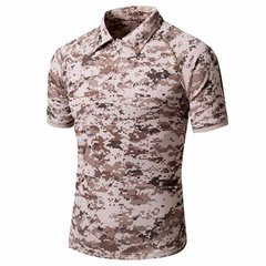 Camouflage Quick-Drying UV Protection Tactics Short Sleeve Polo T-Shirt For Men