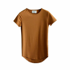 Men's Summer Fashion Solid Color Long Style Short-sleeved Cotton T-shirt
