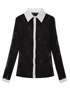 OL Lace See-through Long Sleeve Lapel Sexy  Women Blouse