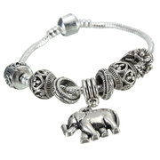 Silver Beads Elephant Pendant Bangle Bracelet