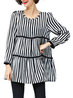 Autumn Fashion Women Loose Striped O Neck Mid-Length Blouse