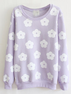 Floral Printed Long Sleeve Casual Cotton Sweatshirt For Women
