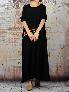 O-Newe Folk Style Solid Embroidery Pendant Patchwork Maxi Dress