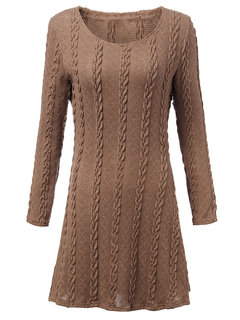 Solid Knitted Bodycon Warm Long Sleeve Dress