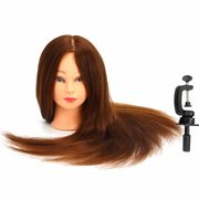 24 Inch 100% Real Human Hair Mannequin Head Salon Hairdressing Training Model Clamp Holder