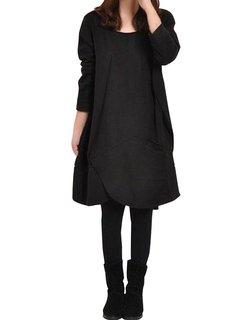 Gracila Асимметричный Хем щелевая передний дизайн с длинным рукавом Свободные платья
