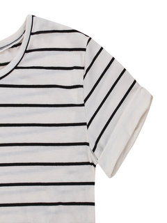 Casual Women Striped Short Sleeved Round Collar Cotton Polyester T-shirt