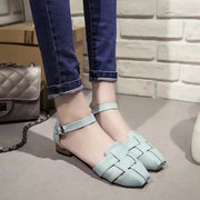 Vintage Retro Check Plaid Knitting Candy Color Korean Style Flat Sandals
