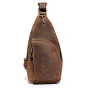 Mans Chest Bags Cowhide Leather Scrub Crossbody Bags Frame Leisure Messenger Sling Bags