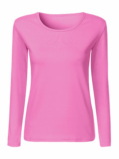 Women Casual Pure Color Long Sleeve O-neck T-shirt