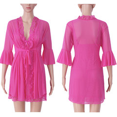 Sexy Transparent Mesh Dress Pure Color Perspective Robe Sleepwear Sets For Women