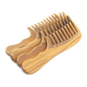 Wooden Natural Sandalwood Handmade Wide Tooth Comb Massage Hair Care