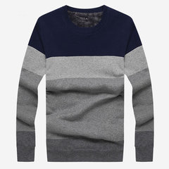 Mens Winter Extra Fleece Knitting Sweater Thick Warm Stripes Pattern Long Sleeve Tops