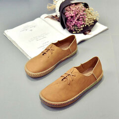 Bullock Lace Up British Style Pure Color Casual Flat Shoes