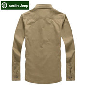 senlin Jeep Casual Fashion Cotton Long Sleeve Plus Size Dress Shirt For Men