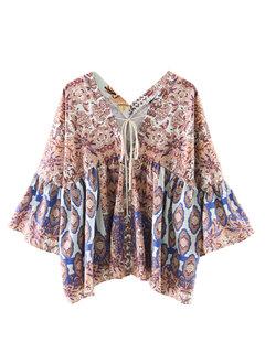Women 3/4 Flare Sleeve V Neck Printed Vintage Blouse